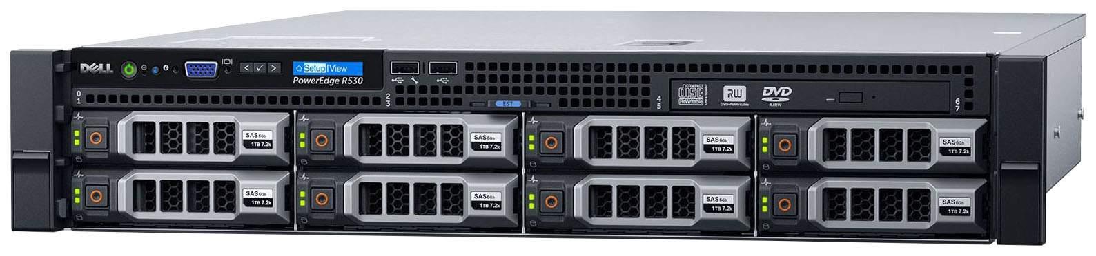 Сервер (б/у) Dell PowerEdge R530 CPU 2x Xeon E5-2630V3 2.4-3.2GHz( 8 cores 16 threads)