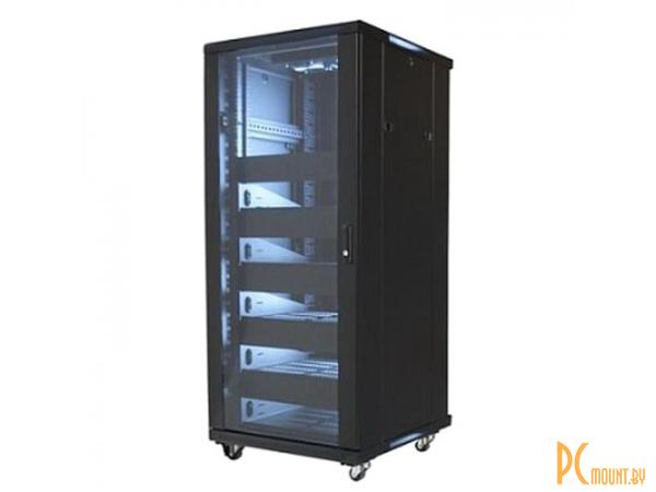 """Wize    Телекоммуникационный шкаф (Рэковая стойка)  19"""", высота 27U, габариты 1388х600х610 мм, вентиляция, колесики, макс. вес нагрузки 798 кг, сталь, черный W27UR"""