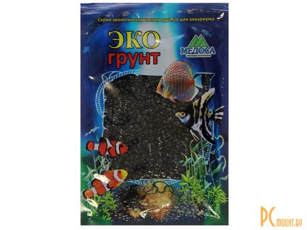 Грунты для аквариумов и террариумов: цветная мраморная крошка Эко грунт 2-5mm 3.5kg Black  г-1001