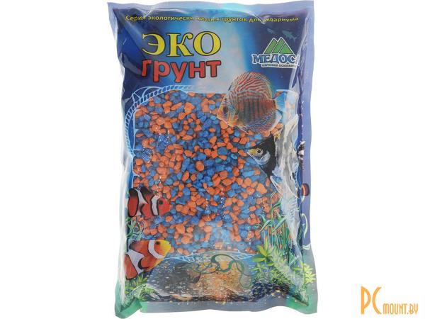 Грунты для аквариумов и террариумов: цветная мраморная крошка Эко грунт 2-5mm 3.5kg Orange/Light Blue  г-1011
