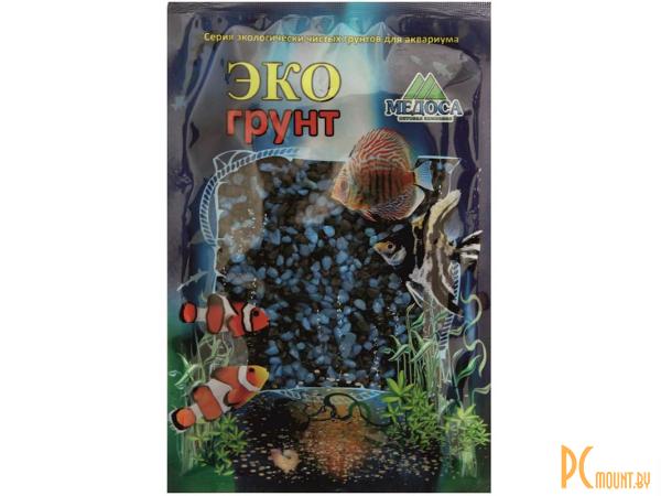 Грунты для аквариумов и террариумов: цветная мраморная крошка Эко грунт 2-5mm 1kg Black/Light Blue  500038