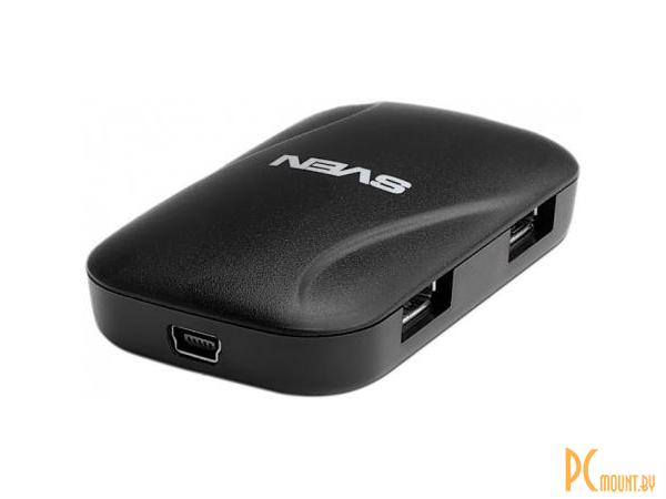 фото SVEN HB-011 black, USB-концентратор (4xUSB 2.0, черный, кабель 1.2м, 43х12х75)