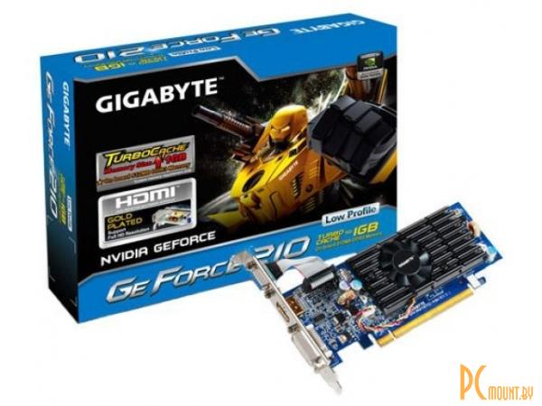 фото Gigabyte PCI-E NV GV-N210TC-1GI GT210 with CUDA, PCIE2.0x16, TurboCache to 1GB (On board 512MB DDR3), 64bit, DVI-I / D-sub  / HDMI / ОЕМ