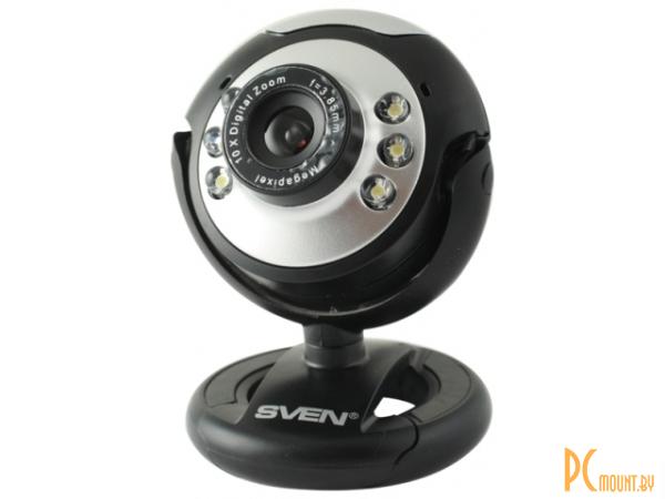 фото Sven CU-1.2 (USB, изображения до 1,3 Мп, видео 640x480x20, 1/4 CMOS сенсор, 6мм  объектив, 62° угол обзора, микрофон, подсветка объекта)
