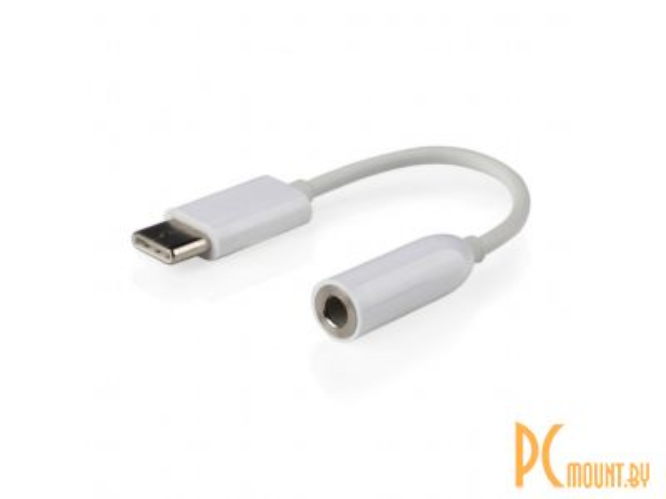 Переходник USB Type-C to audio 3.5mm Gembird CCA-UC3.5F-01-W, 15 cm, white