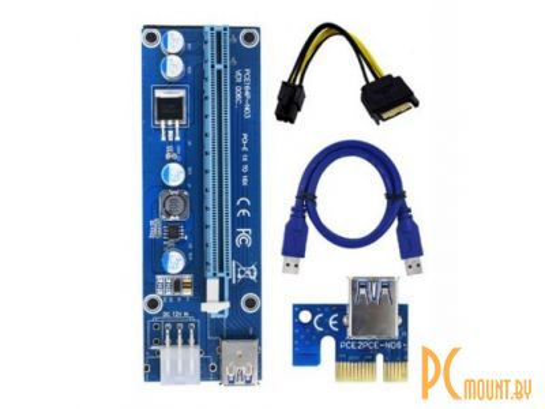 Райзер (удлинитель) PCI EXpress x1-to-x16 ver 008C (SATA, USB3.0) OEM