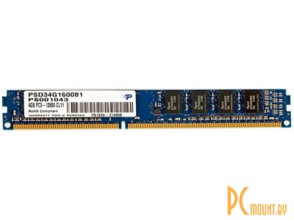 фото Память оперативная DDR3, 4GB, PC12800(1600MHz), Patriot PSD34G160081