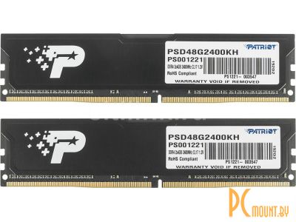 фото Память оперативная DDR4, 8GB, PC19200 (2400MHz), Patriot PSD48G2400KH