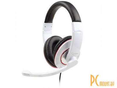 headphone gembird mhs-001-gw white+microphone