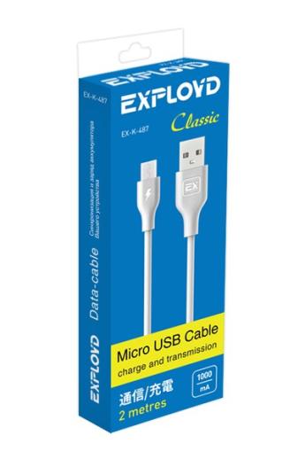 USB A/B/Micro/Mini/Type-C: Exployd USB - microUSB Classic 2m White EX-K-487