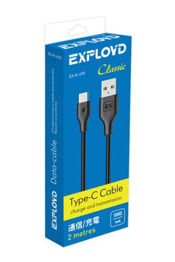 USB A/B/Micro/Mini/Type-C: Exployd USB - TYPE-C Classic 2m Black EX-K-490