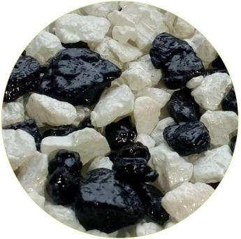 Грунты для аквариумов и террариумов: цветная мраморная крошка Эко грунт №2 5-10mm 1kg Black/White  410014