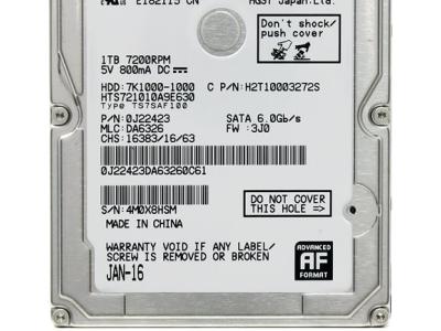 """Жесткий диск 1TB, 2,5"""", SATA-III, Hitachi, HTS721010A9E630"""