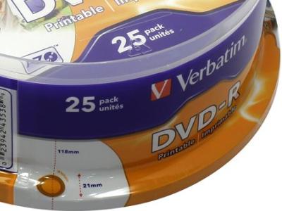 media dvd-r verbatim 4g7 16x printable cake25