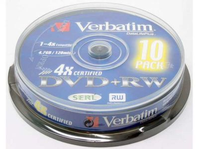 media dvd+rw verbatim 4g7 4x matt-silver cake10