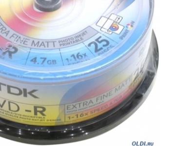 media dvd-r tdk 4g7 16x bulk25