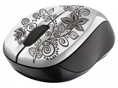 ms trust vivy wireless mini mouse grey-flowers 18247